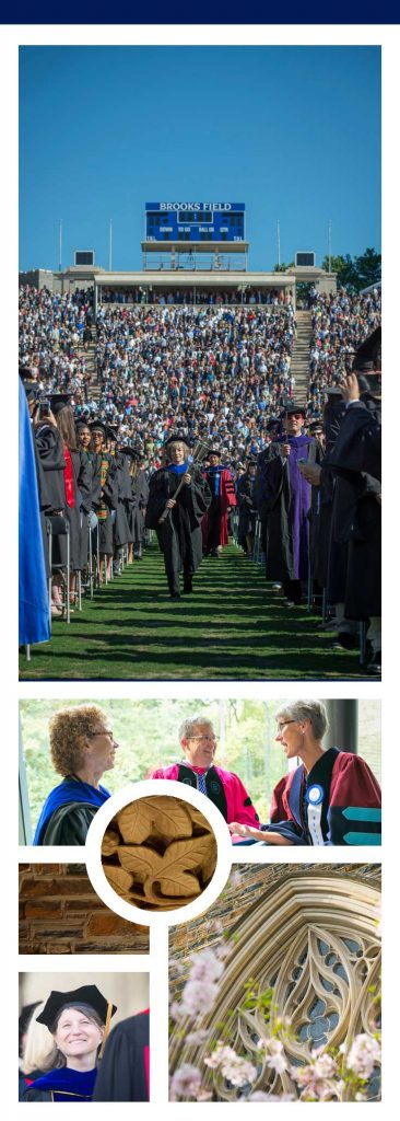 Collage: The many ways faculty participating in Commencement at Duke, from leading the procession to congratulating new graduates.