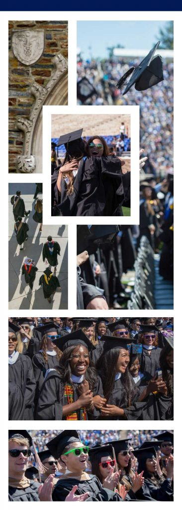 Collage: Photos of Duke students making memories with their classmates and friends at commencement.