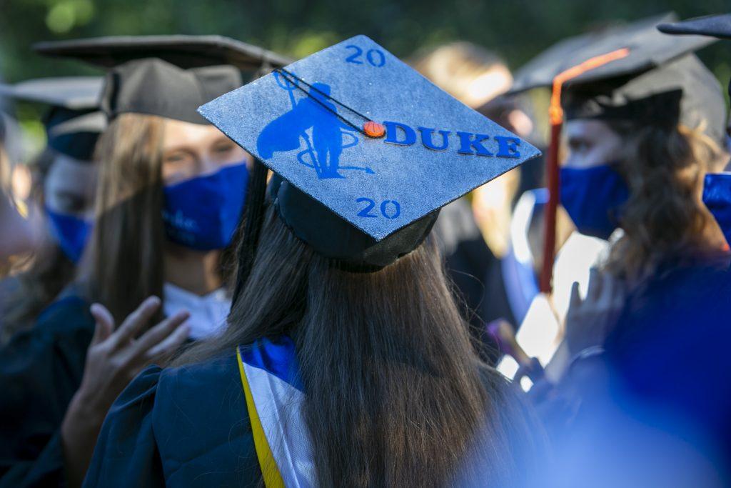 A graduation cap decorated with a Blue Devil